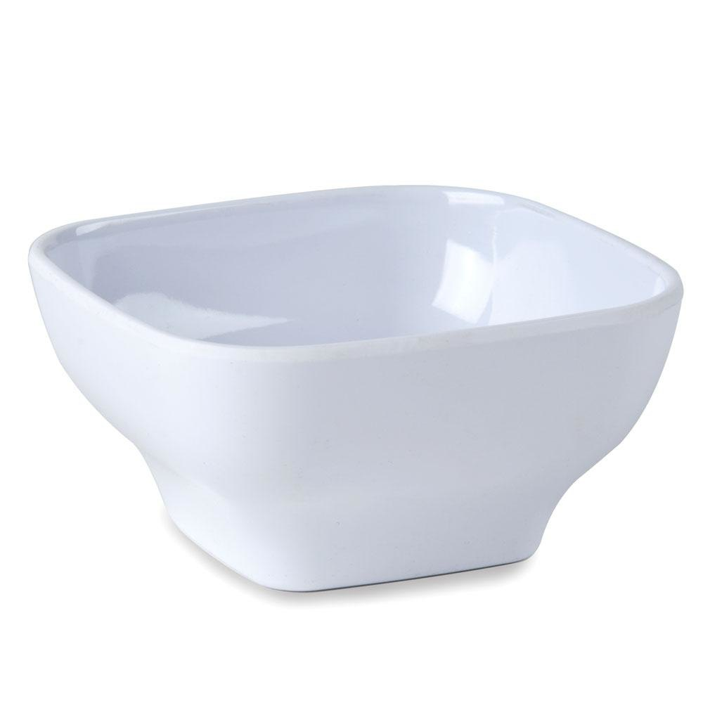 "5 1/2"" x 5 1/2"" Passion White Square 20 oz. Melamine Bowl with Round Edges - 12 / Pack"