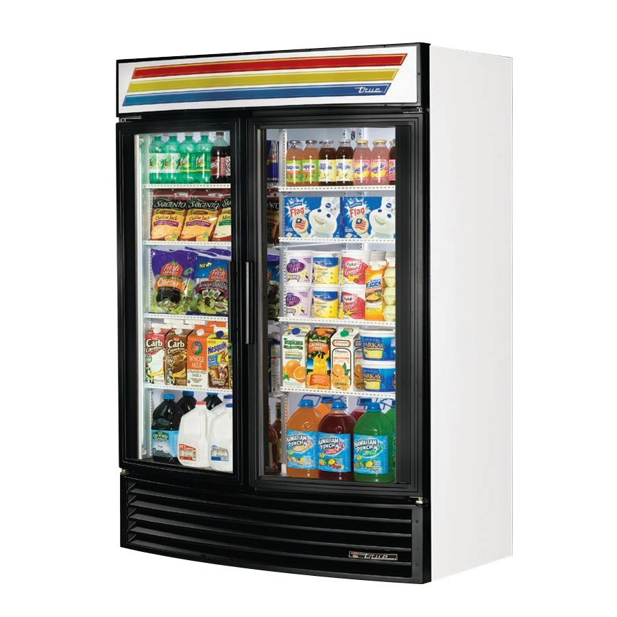 True GDM-49RF White Radius Front Refrigerated Glass Door Merchandiser - 49 Cu. Ft.