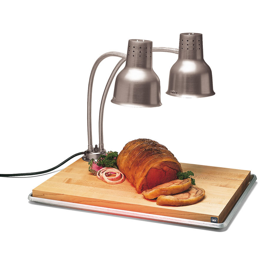 Carlisle HL8285B00 FlexiGlow 24u0026quot; Dual Arm Aluminum Heat Lamp with Maple Cutting Board, and Drip ...