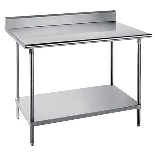 "Advance Tabco KSS-363 36"" x 36"" 14 Gauge Work Table with Stainless Steel Undershelf and 5"" Backsplash"