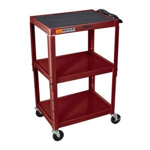 "H. Wilson Burgundy H. Wilson W42AE Metal 3 Shelf A/V Utility Cart 18"" x 24"" x 42"" - Adjustable Height at Sears.com"