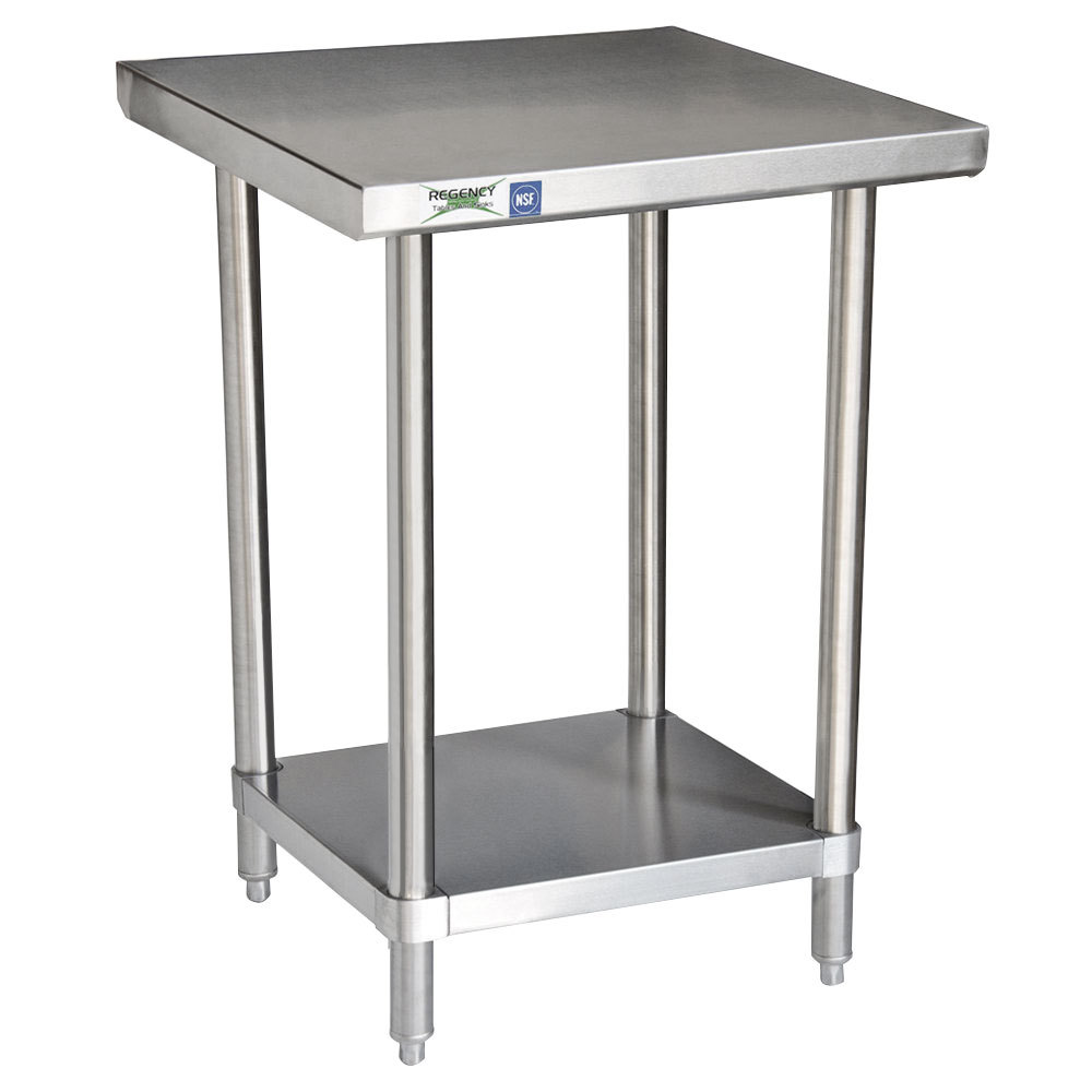Regency 16 gauge all stainless steel commercial work table 24 x 30 with undershelf - Steel kitchen tables ...