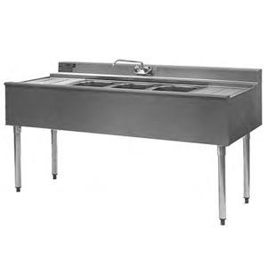 "Eagle Group B4R-2-22 48"" Underbar Sink with Two Compartments and Right Drainboard"
