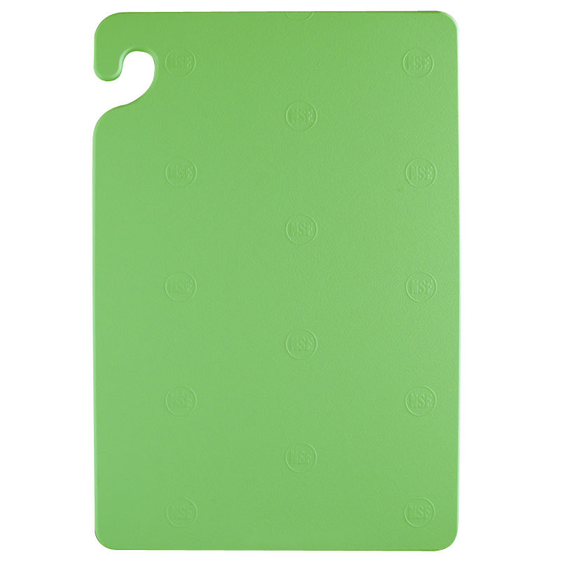 San Jamar CB182412GN Green 18 inch x 24 inch x 1/2 inch Cut-N-Carry Cutting Board with Hook