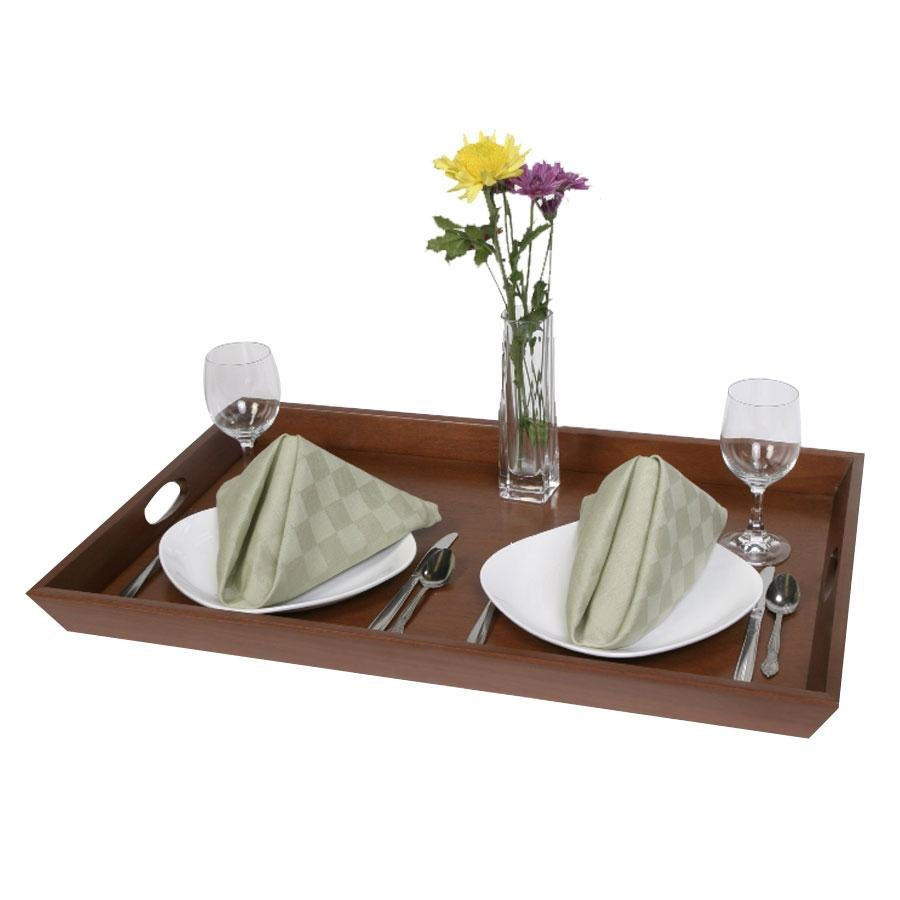 "Wooden Room Service Tray with Handles - 28"" x 18"""