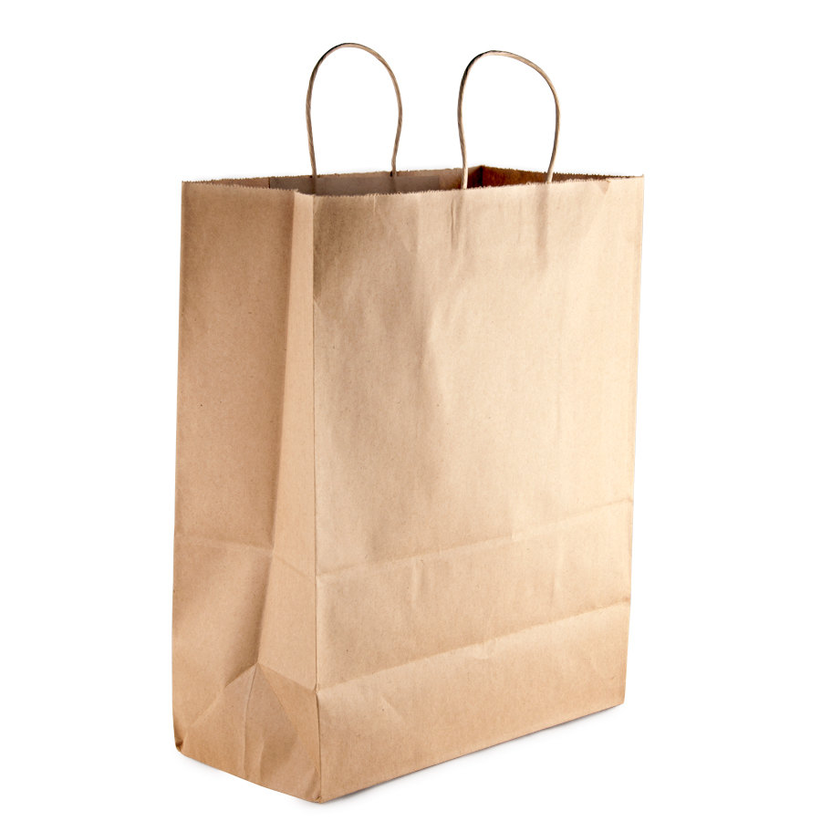 Brown Shopping Bag with Handles 13 inch x 7 inch x 17 inch 250/Case