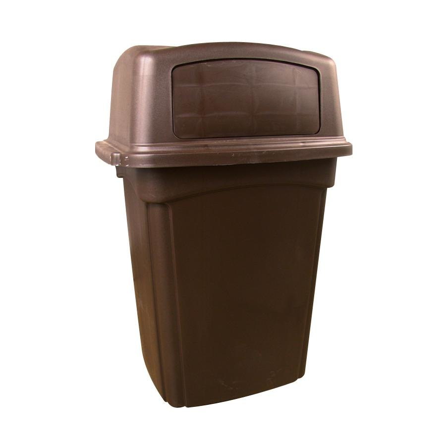 Continental 6562BN Colossus 56 Gallon Brown Two-Door Trash Can