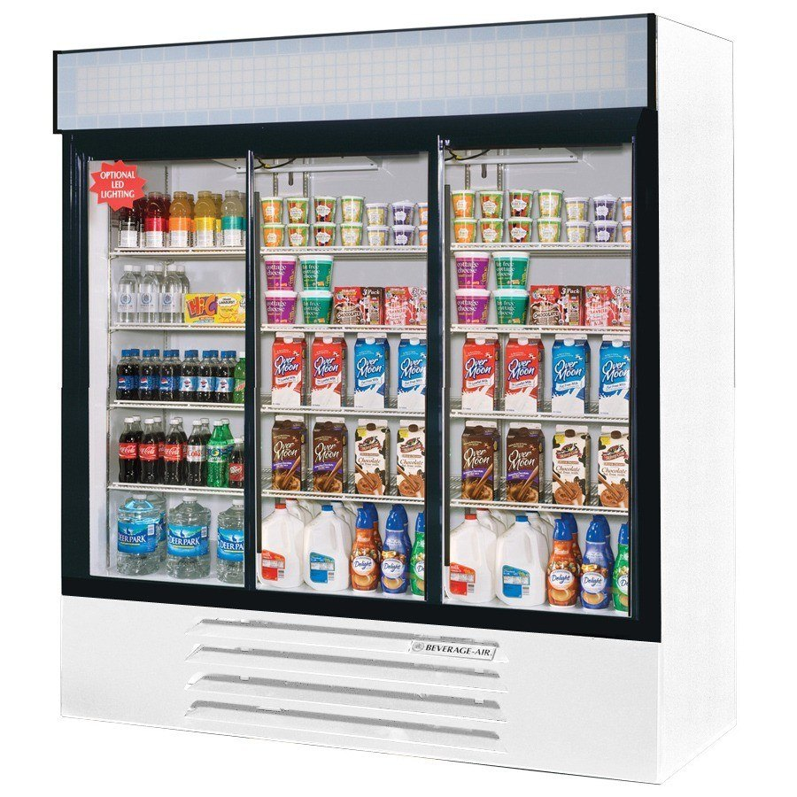 "Beverage Air (Bev Air) LV72Y-1-W White LumaVue 75"" Refrigerated Glass Door Merchandiser - 72 Cu. Ft. at Sears.com"