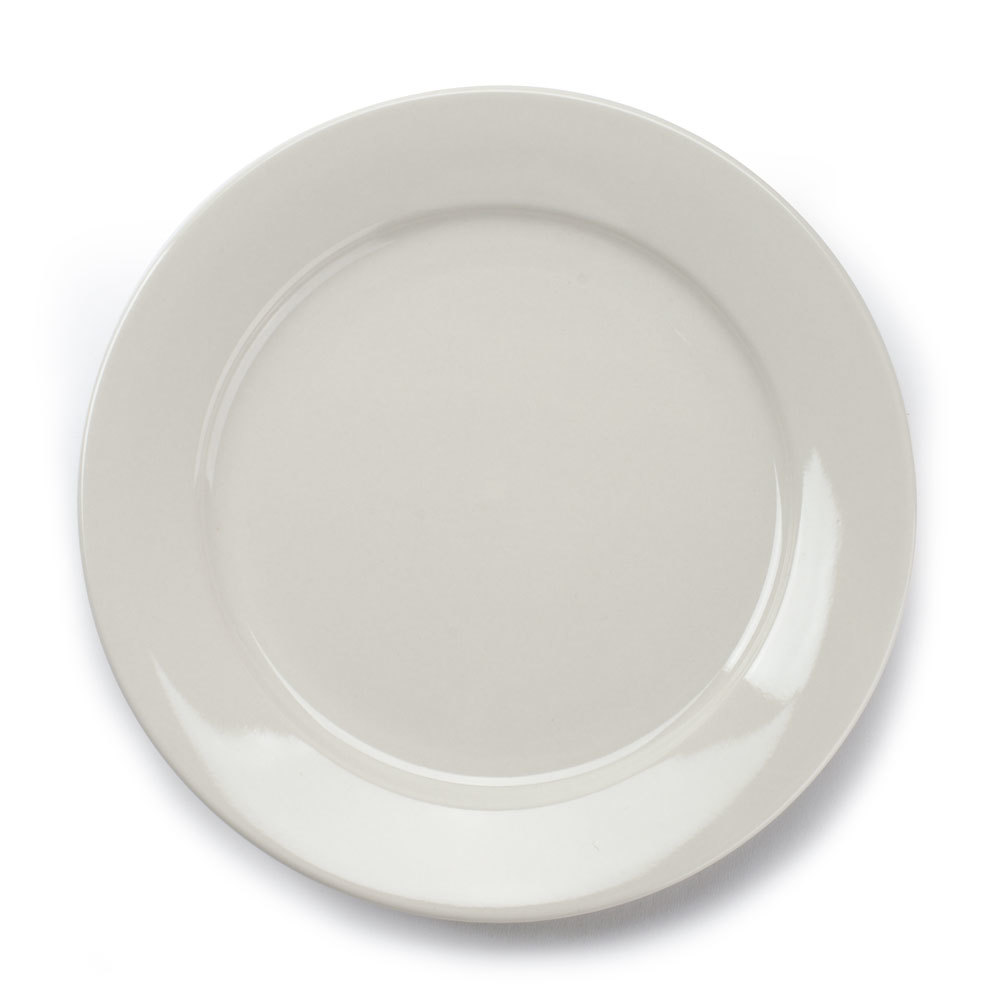 American White (Ivory / Eggshell) Wide Rim 10 1/2 inch Rolled Edge China Plate - 12 / Case