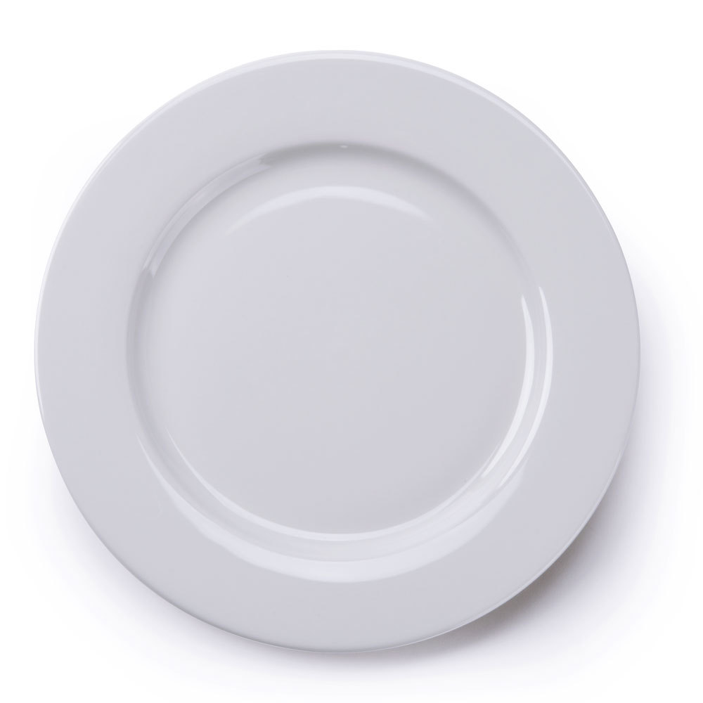 Tuxton ALA-104 Alaska 10 1/2 inch Wide Rim Rolled Edge Bright White China Plate 12/Case