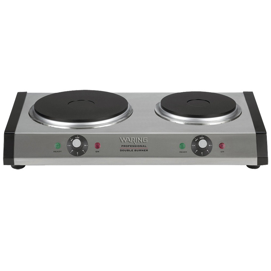 Waring WDB600 Double Burner Solid Top Countertop Range - Heavy Duty 1800 Watts NSF