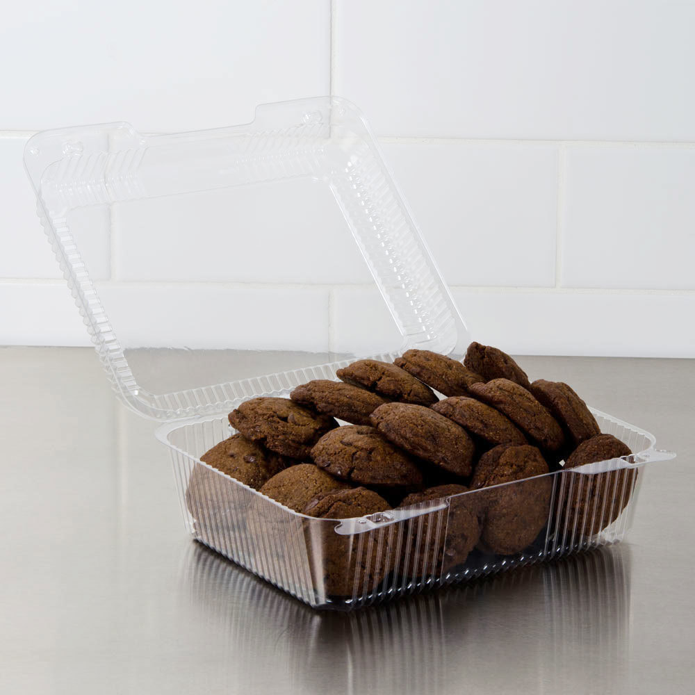 "Dart Solo C50UTD StayLock 9 1/8"" x 9 1/2"" x 3 5/8"" Clear Hinged Plastic 9"" Square High Dome Container - 250/Case"