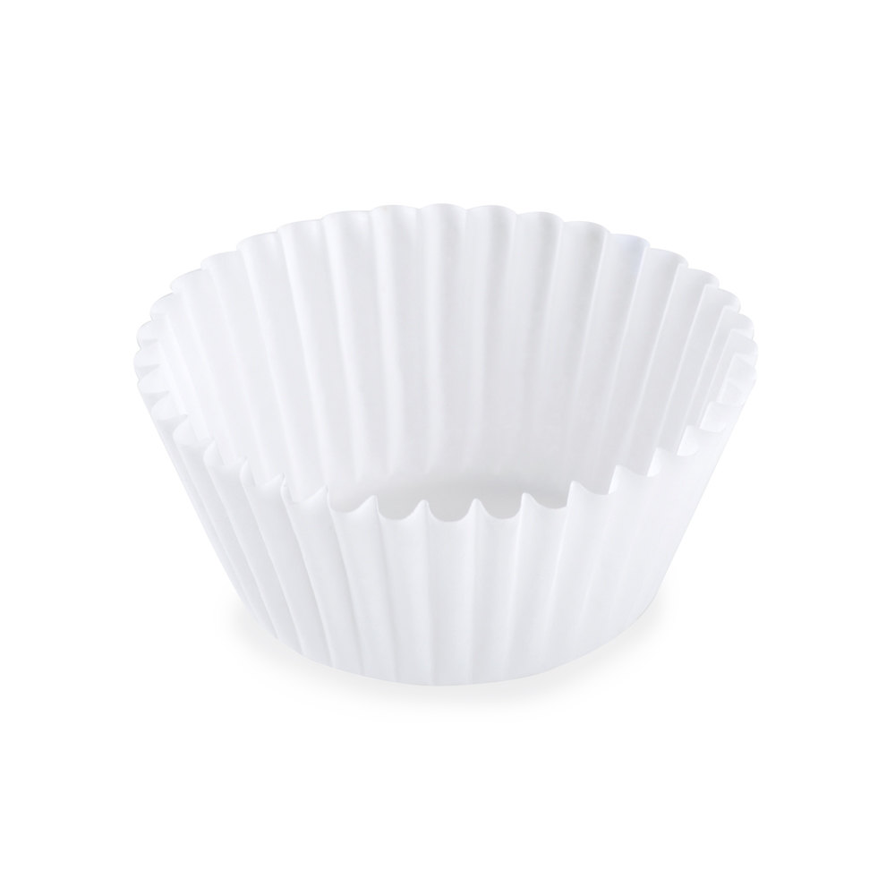 White Fluted Baking Cup 1 1/2 inch x 1 inch - 10,000 / Case