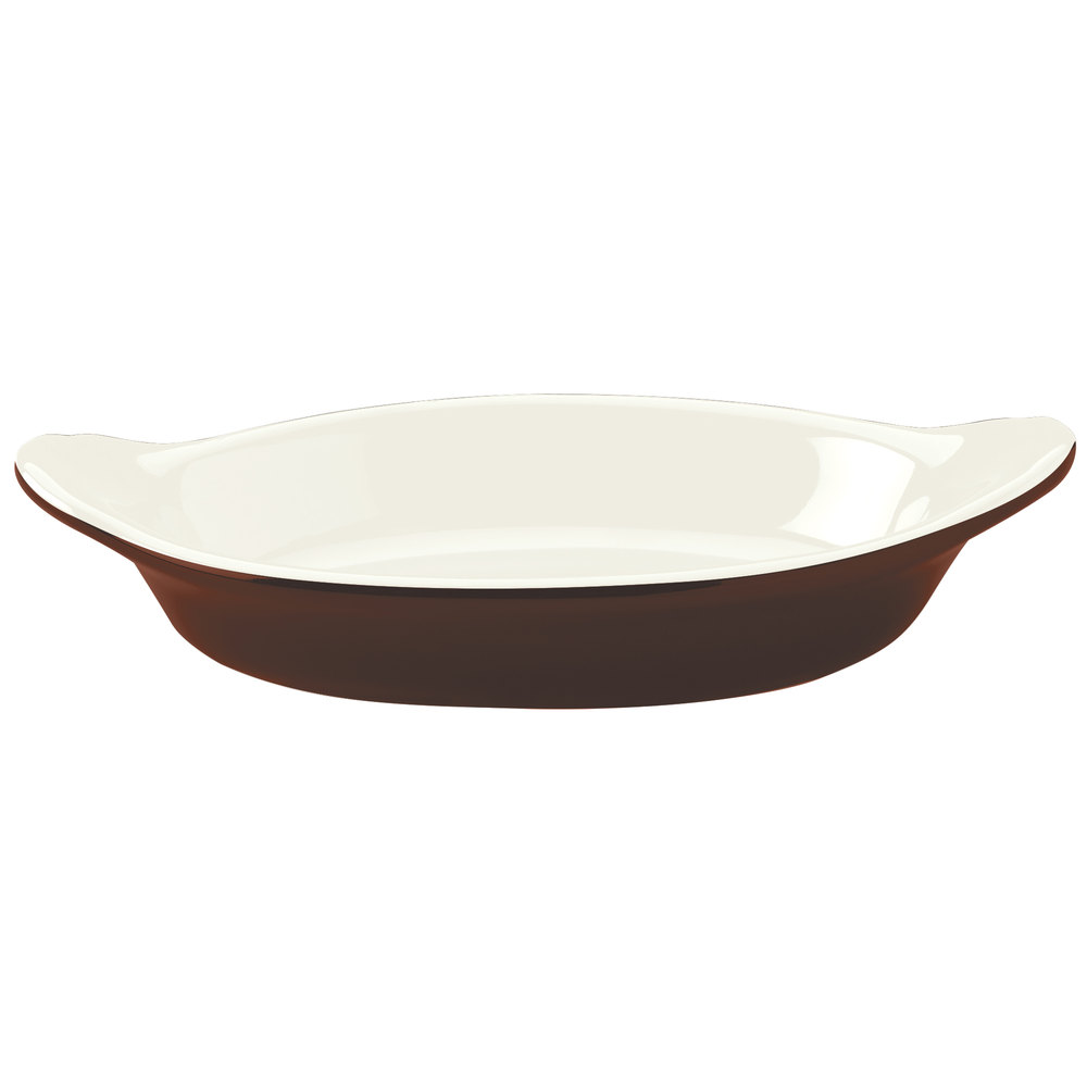 Hall China 5270ABRB Brown 8 oz. Oval Rarebit / Au Gratin Dish - 24/Case