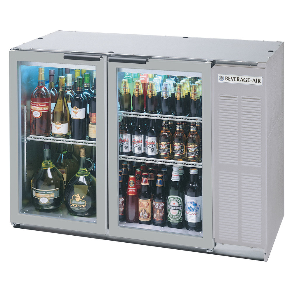 "Beverage Air BB48GY-1-SS-WINE 48"" SS Back Bar Wine Series Refrigerator - Narrow Depth, 2 Glass Doors"