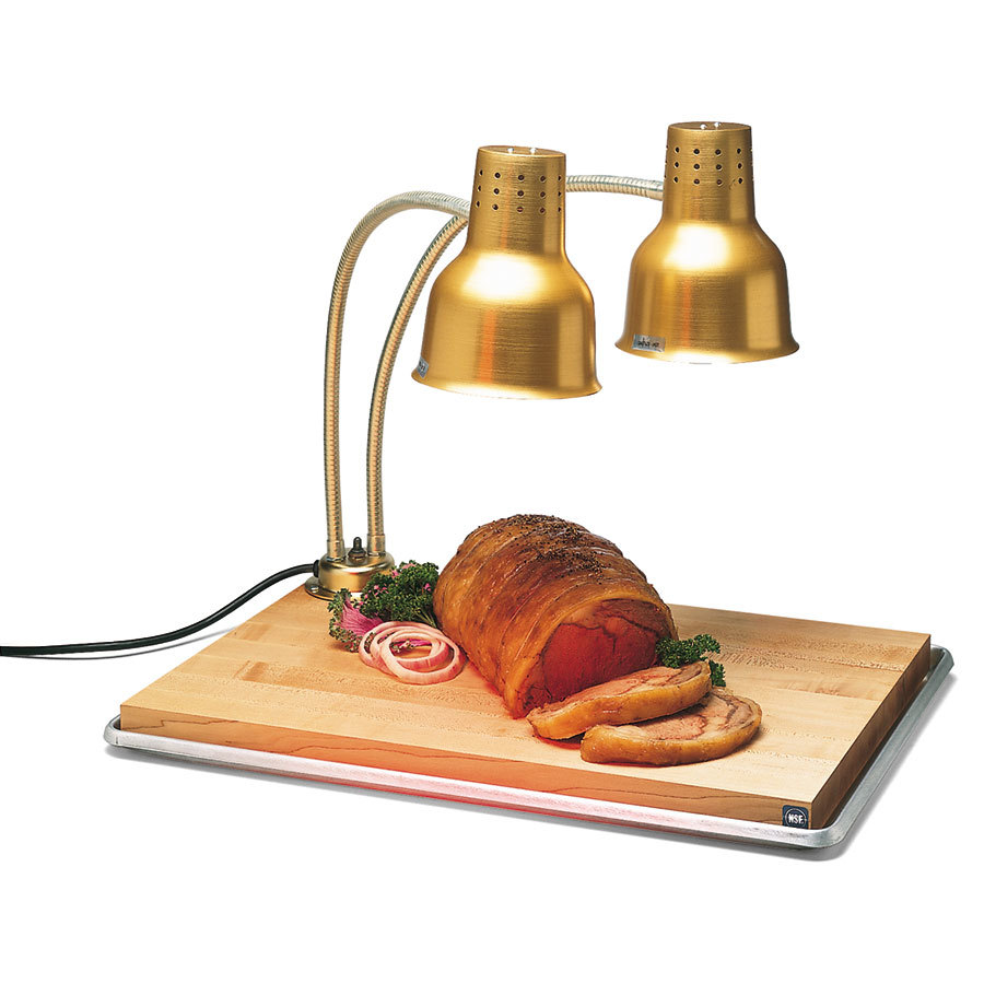 "Carlisle HL8285GB21 FlexiGlow 24"" Dual Arm Aluminum Heat Lamp with Gold Finish, Maple Cutting Board, and Drip Pan - 120V"
