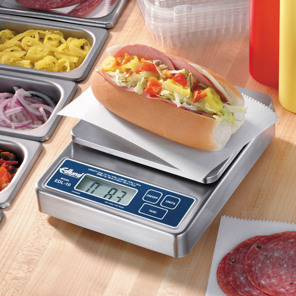 "Edlund EDL-10 Rechargeable 10 lb. Digital Portion Control Scale with 6"" x 6 3/4"" Platform"