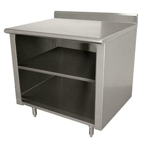 "Advance Tabco EK-SS-304M 30"" x 48"" 14 Gauge Open Front Cabinet Base Work Table with Fixed Midshelf and 5"" Backsplash"