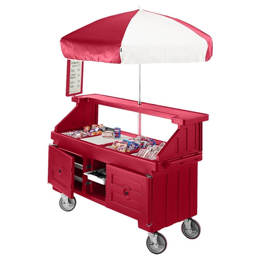 Cambro Camcruiser CVC724158 Hot Red Vending Cart with Umbrella and 4 Counter Wells