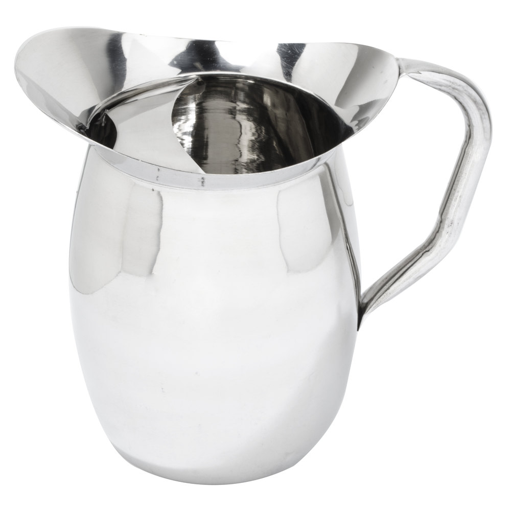 qt stainless steel bell pitcher with ice guard -