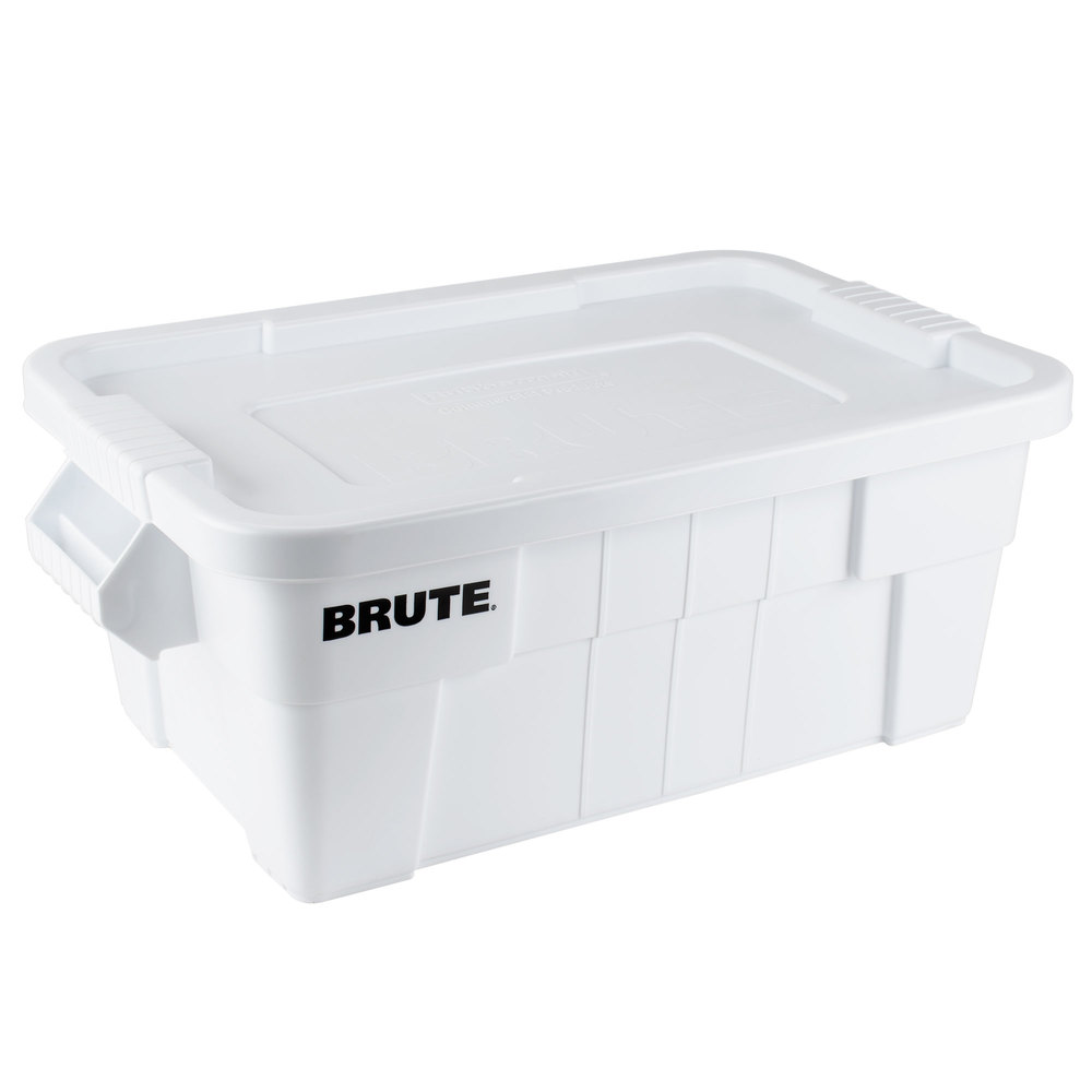 Rubbermaid 9S30 Brute 14 Gallon NSF Tote with Lid (FG9S3000WHT)