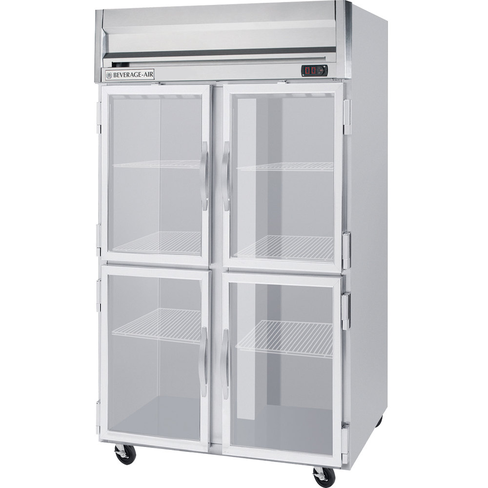 Beverage Air HFS2-1HG-LED 2 Section Glass Half Door Reach-In Freezer - 49 cu. ft., Stainless Steel Front, Gray Exterior, Stainless Steel Interior