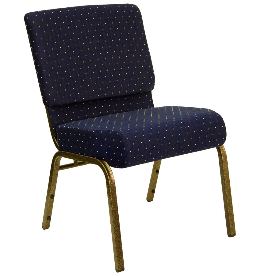 "Navy Blue Dot Patterned 21"" Extra Wide Church Chair with Gold Vein Frame"