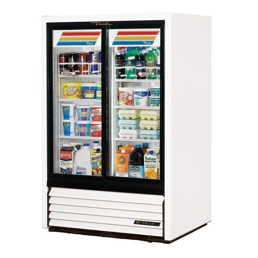 True GDM-33CPT White Narrow Sliding Door Pass Through Glass Door Merchandiser Refrigerator - 17 Cu. Ft.