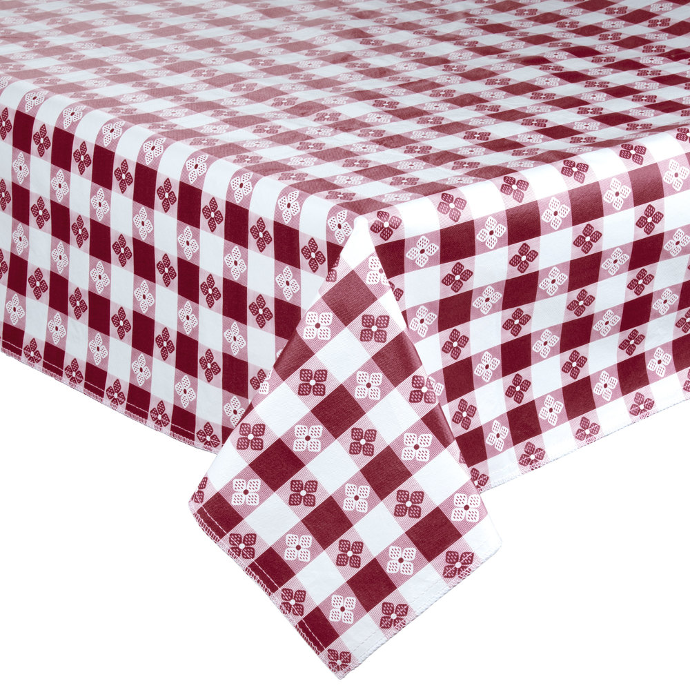 Burgundy-Checkered Vinyl Table Cover with Flannel Back - 25 Yard Roll
