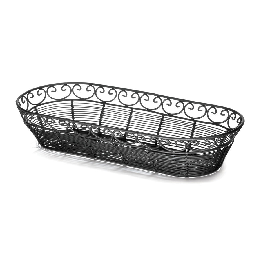 "Tablecraft BK21815 Mediterranean Oblong Black Metal Basket - 15"" x 6 1/4"" x 3"""