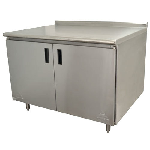 "Advance Tabco HF-SS-304 30"" x 48"" 14 Gauge Enclosed Base Stainless Steel Work Table with Hinged Doors and 1 1/2"" Backsplash"