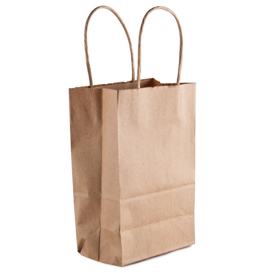 gem kraft paper shopping bag with handles 5 1 4 quot x