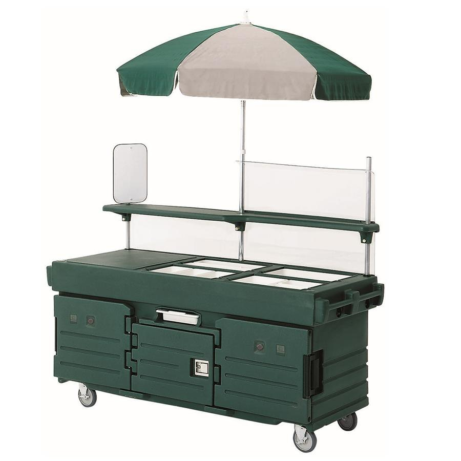 Cambro CamKiosk KVC854U519 Green Vending Cart with 4 Pan Wells and Umbrella