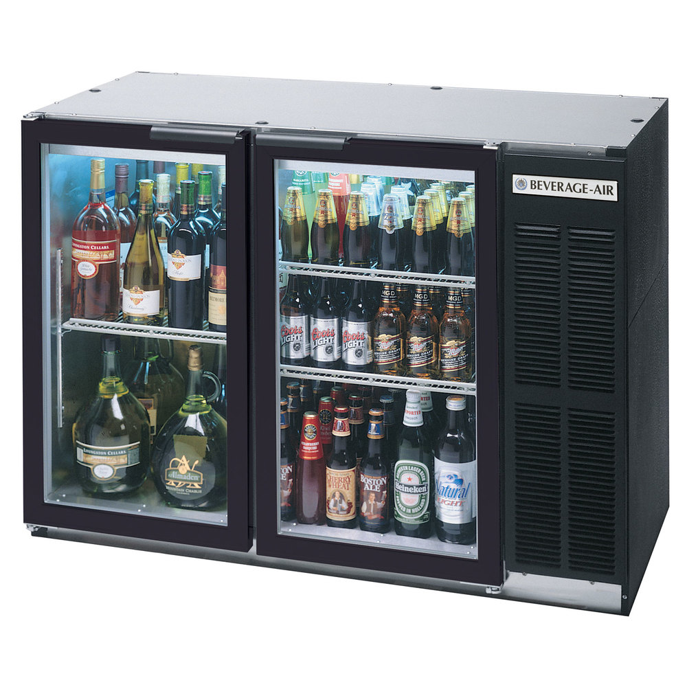 "Beverage Air BB48GSY-1-SS-PT-LED-WINE 48"" Black Back Bar Wine Series Refrigerator - Narrow Depth, Pass-Through Glass Doors"