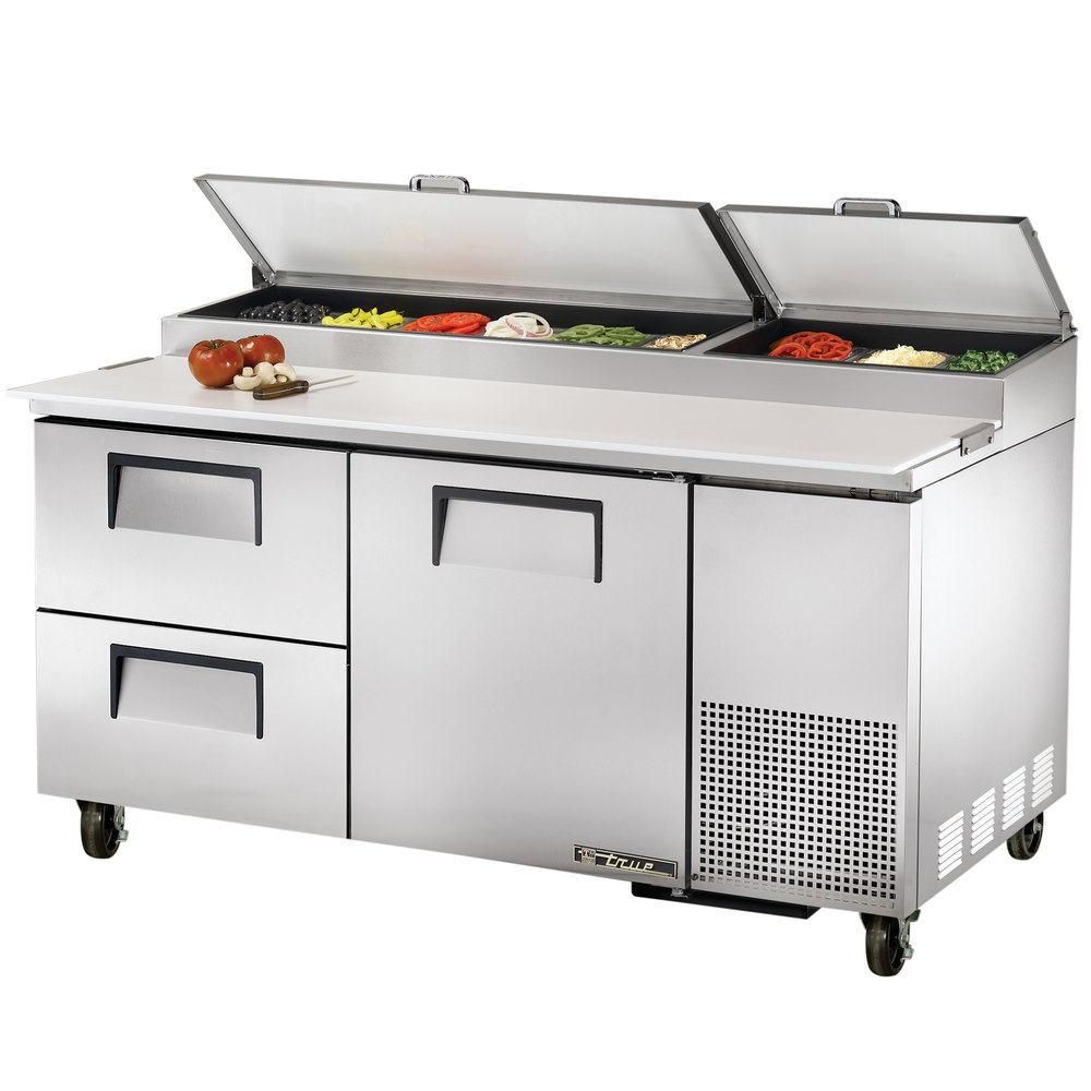 "True TPP-67D-2 67"" Refrigerated Pizza Prep Table with One Door and Two Drawers"