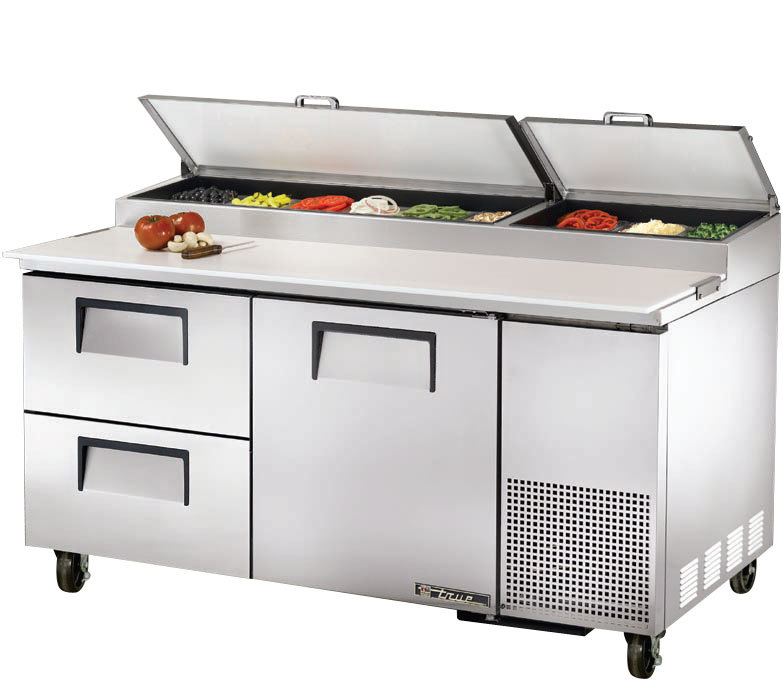 True TPP-67D-2 67 inch Refrigerated Pizza Prep Table with One Door and Two Drawers
