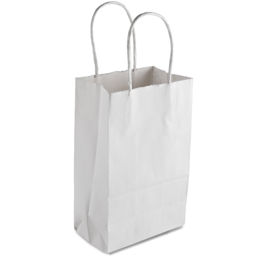 """Gem White Paper Shopping Bag with Handles 5"""" x 3"""" x 8 ..."""