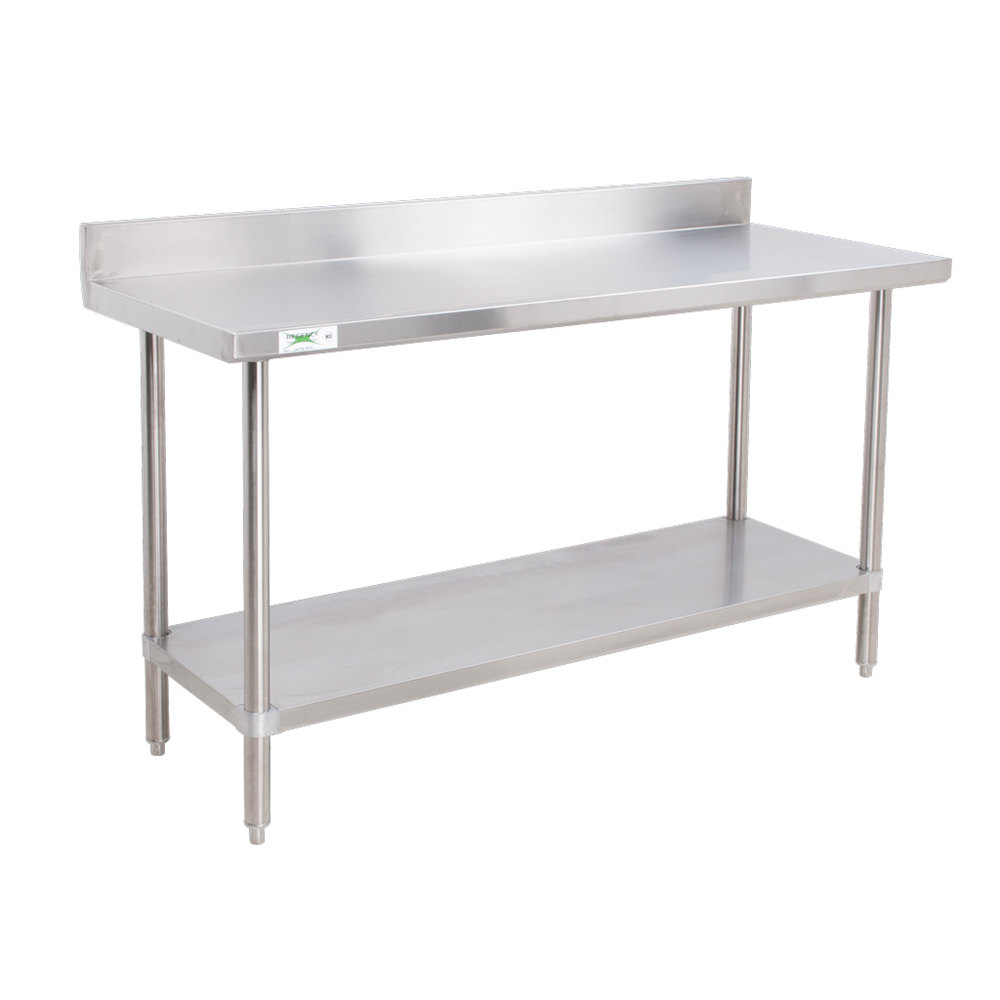 Regency 16 Gauge All Stainless Steel Commercial Work Table - 30 inch x 72 inch with Undershelf and 4 inch Backsplash
