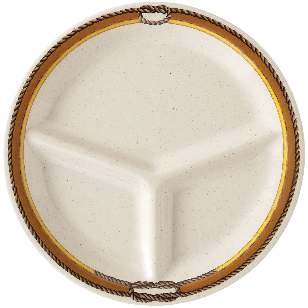 "GET CP-10-RD10 1/4"" Diamond Rodeo 3-Compartment Plate - 12 / Case"