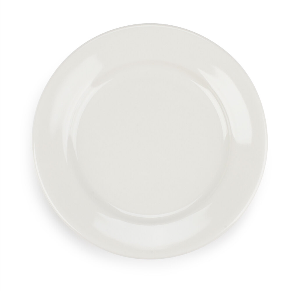 American White (Ivory / Eggshell) Wide Rim 6 1/4 inch Rolled Edge China Plate - 36 / Case