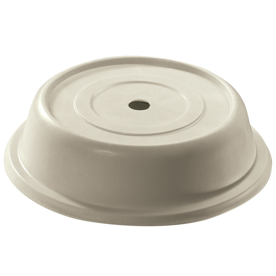 "Cambro 124VS101 Versa Antique Parchment Camcover 12 1/4"" Round Plate Cover - 12/Case"