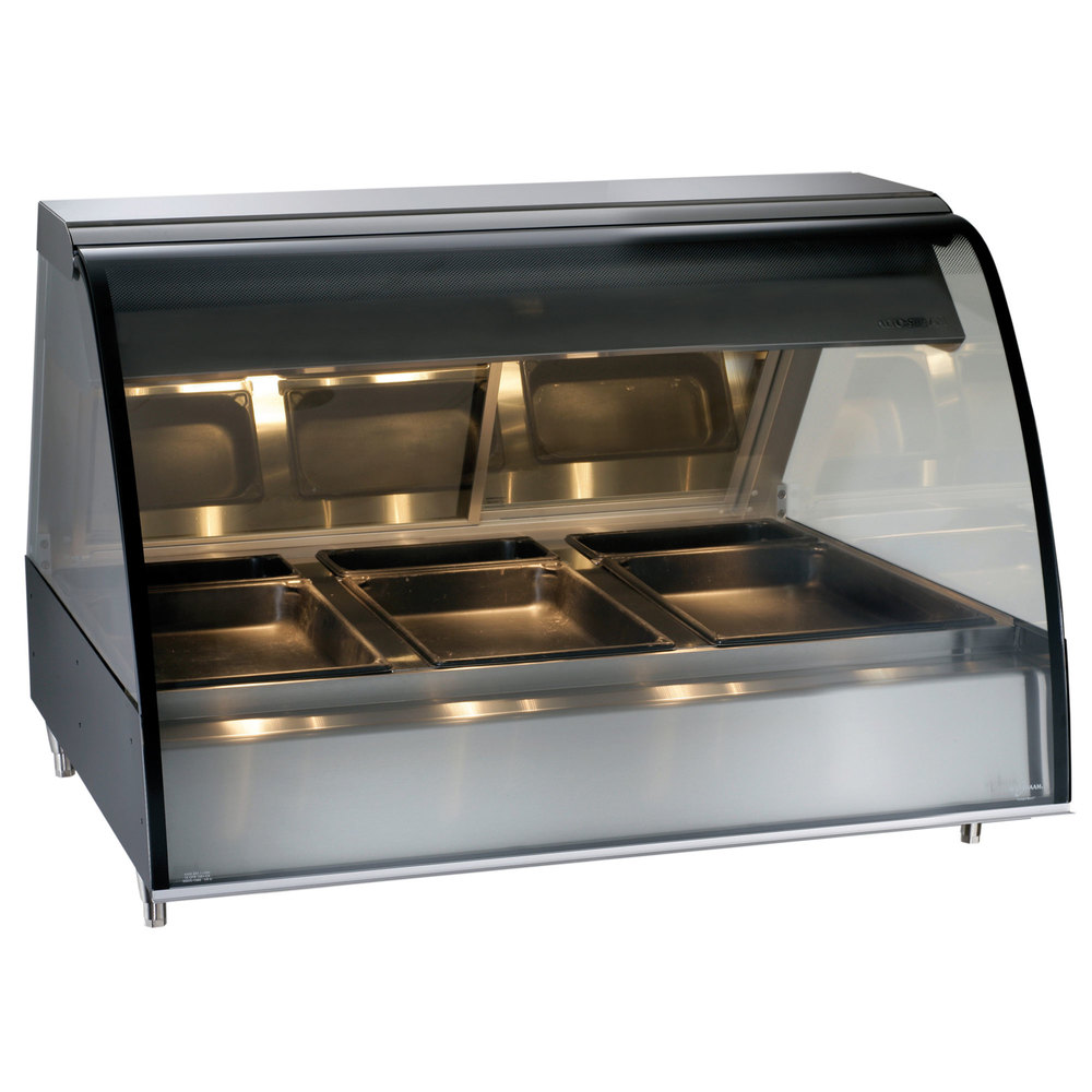 Alto-Shaam TY2-48 BK Black Countertop Heated Display Case with Curved Glass - Full Service 48""