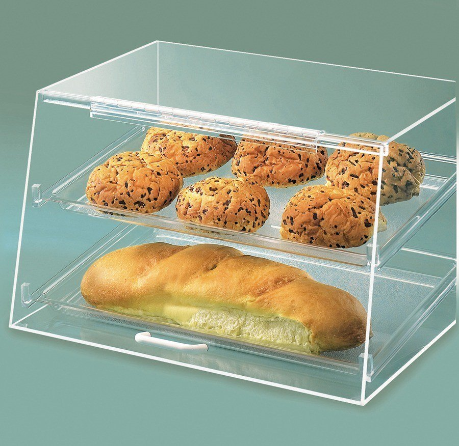Cal Mil 255-S 2-Tier Bakery Display Case with Slant Front Door - Acrylic