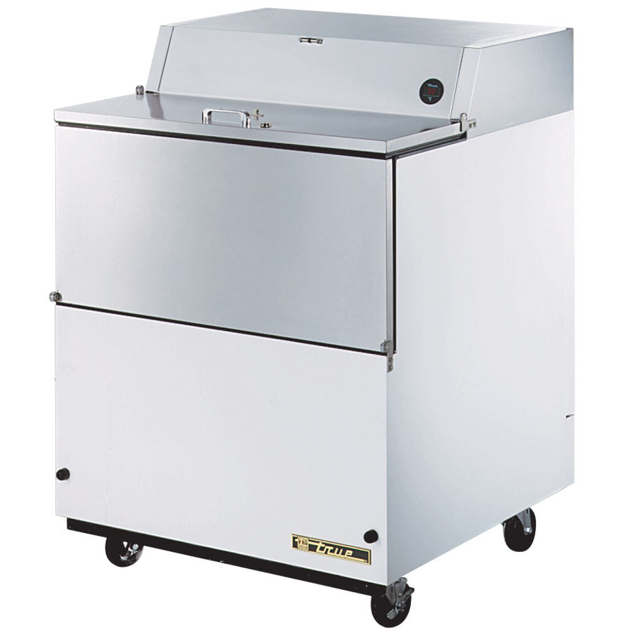 "True TMC-34-SS 34"" White One Sided Milk Cooler with Stainless Steel Interior"
