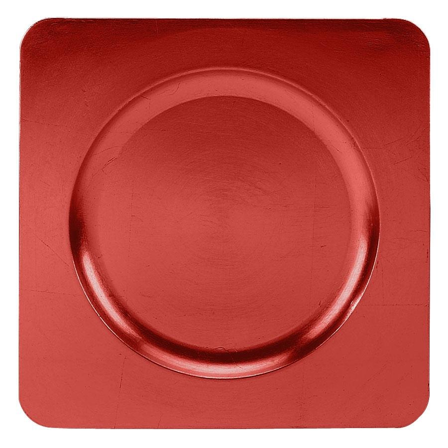 "Tabletop Classics TRR-6660 12 1/4"" Red Square Acrylic Charger Plate"