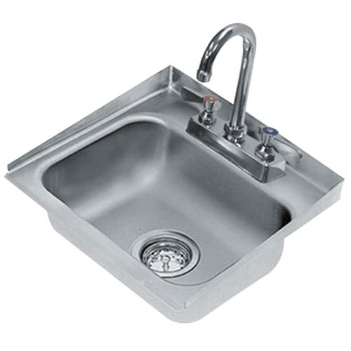 "Advance Tabco DI-1-30 Drop In Stainless Steel Sink with 2"" Tapered Side Splash - 14"" x 10"" x 5"" Bowl"