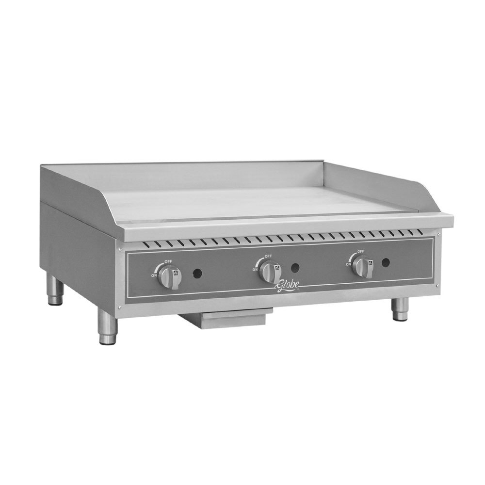 "Globe GG36TG 36"" Countertop Gas Griddle with Thermostatic Controls - 90,000 BTU"