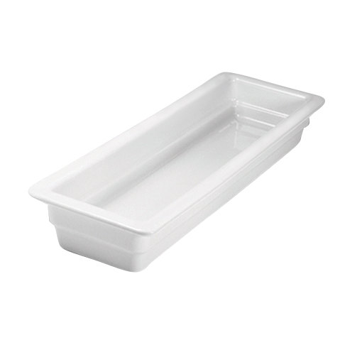 "Hall China 1015P0ABWA 1/2 Size Long 2 1/2"" Deep Bright White China Food Pan"