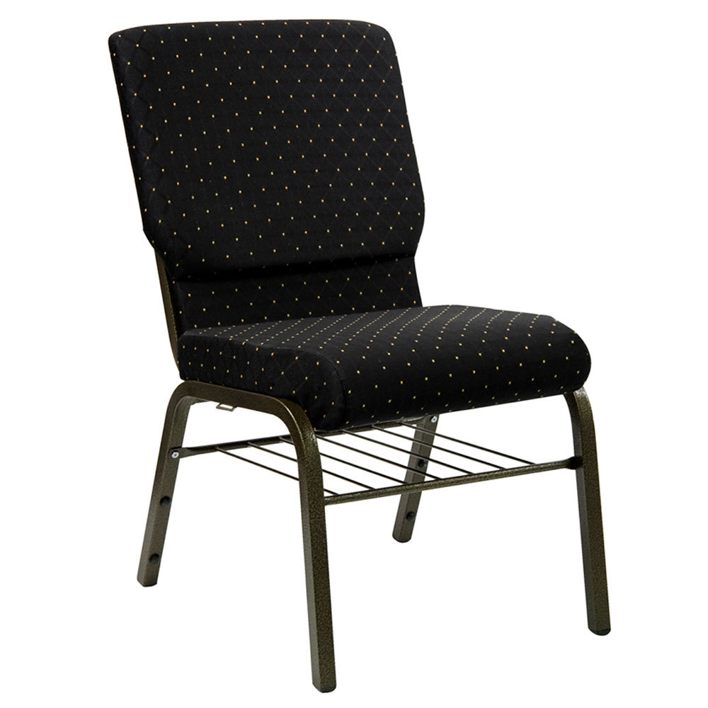 "Black Dot Patterned 18 1/2"" Wide Church Chair with Communion Cup Book Rack - Gold Vein Frame"