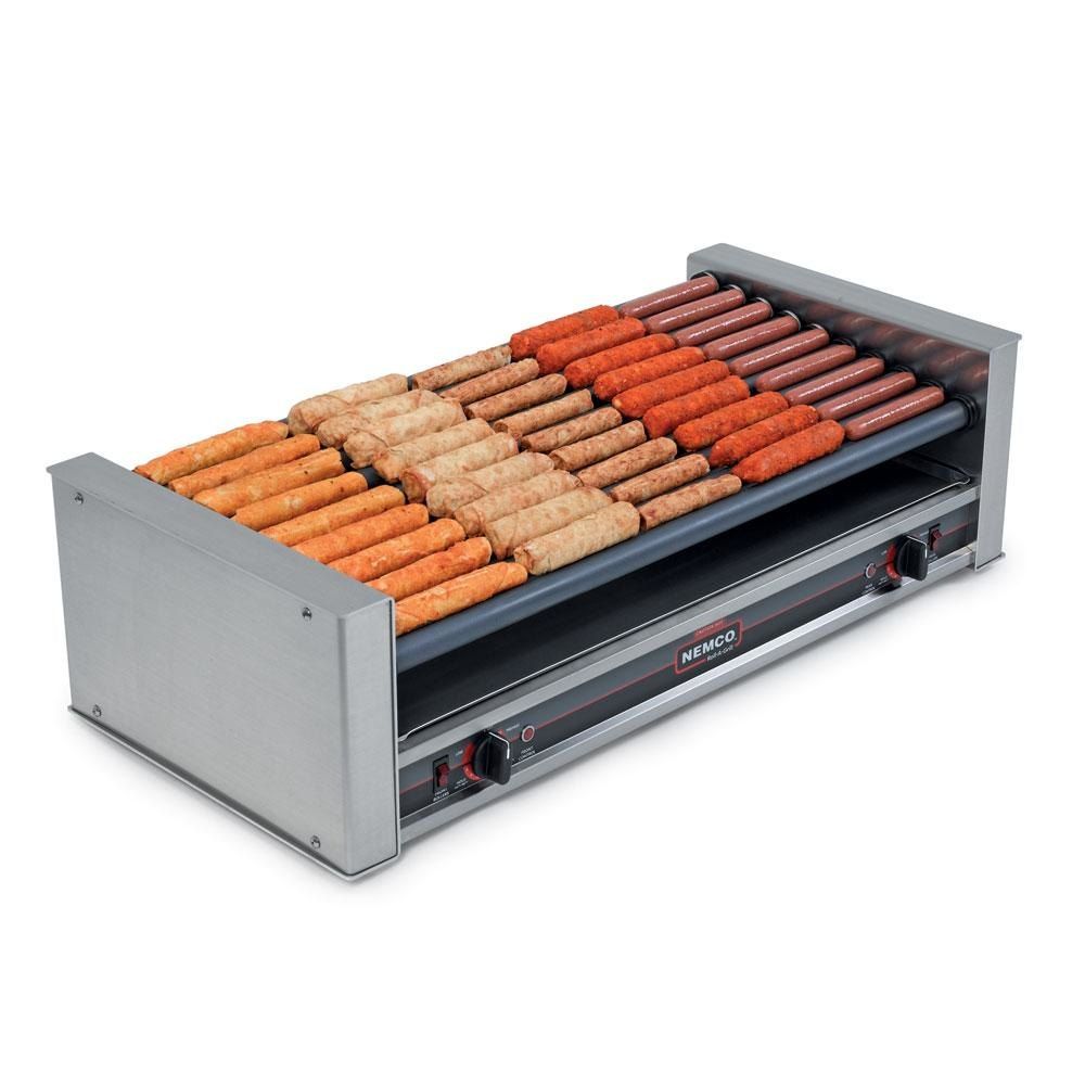 Nemco 8045W-SLT Wide Slanted Hot Dog Roller Grill - 45 Hot Dog Capacity (120V)